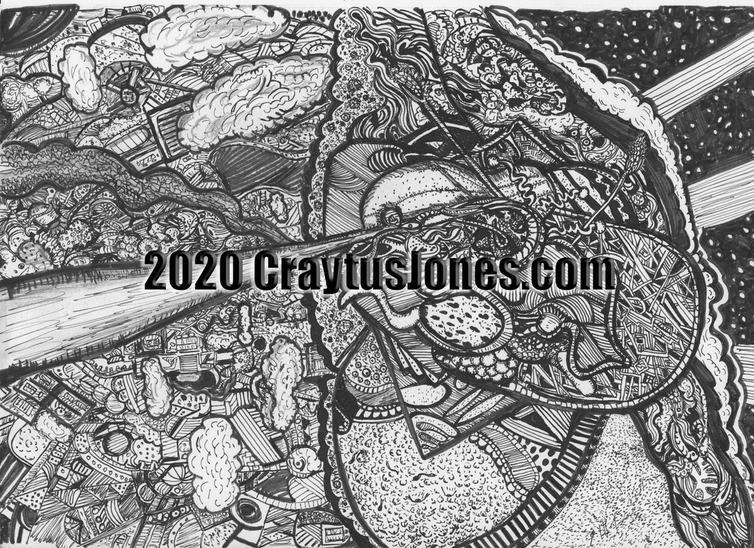 Craytus Jones Drawing Pen and Ink Abstract Scene from above quarantine art organic texture graphic folk wall decor Original artwork