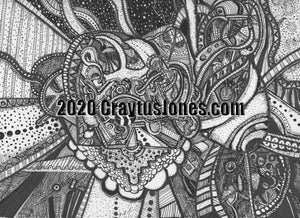 Craytus Jones Drawing Pen and Ink Doodle Abstract quarantine art organic texture graphic folk wall decor Original artwork
