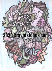 Pen and Ink Drawing with Colored Pencil by Craytus Jones Quarantine Art Abstract Wall Decor