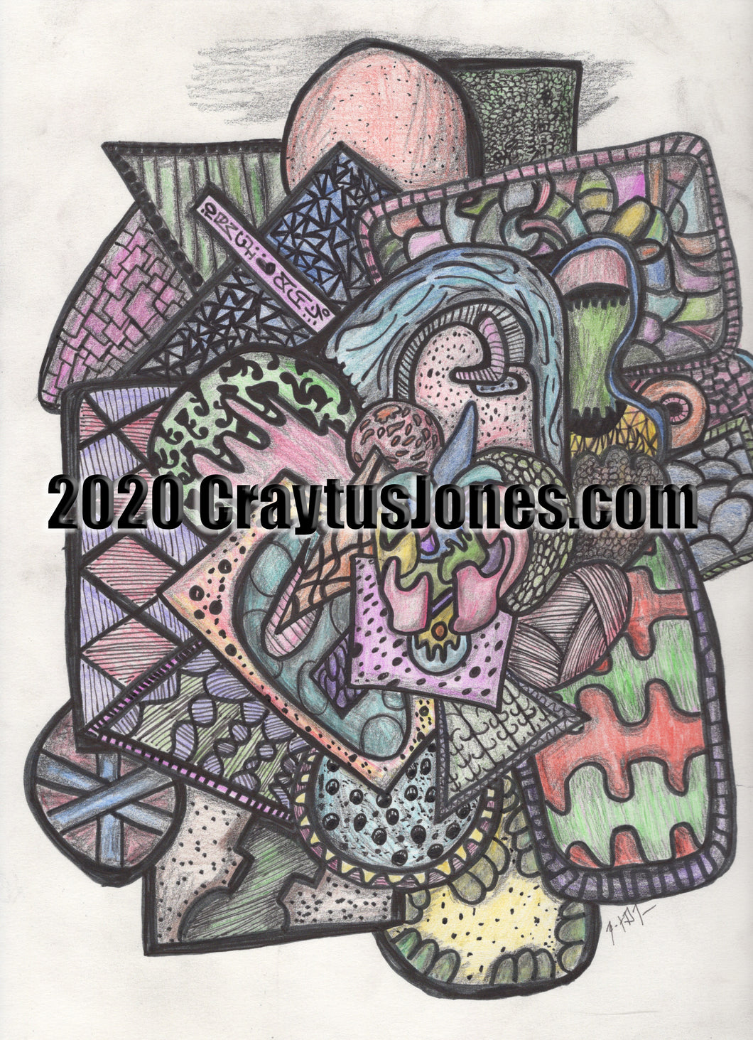 Pen and Pencil Drawing Folk Art Doodle Abstract by Craytus Jones wall decor graphic quarantine art