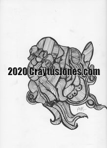 Craytus Jones Drawing Pen and Ink quarantine art Abstract graphic folk wall decor Original artwork