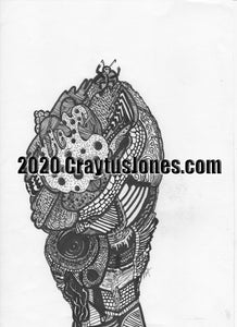 Craytus Jones Drawing Pen and Ink Conquerer quarantine art Abstract graphic folk wall decor Original artwork