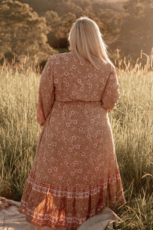 Back view Stay Golden Midi Dress