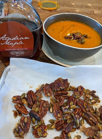 Maple Pumpkin Soup with Candied Pecans and Pumpkin Seeds - from The Kilted Chef