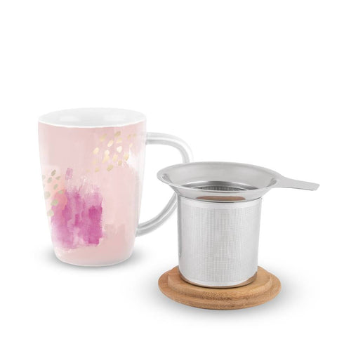 Bailey Pink Abstract Mug and Tea Set