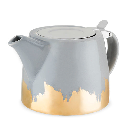 Harper Grey and Gold Brushed Ceramic Teapot & Infuser