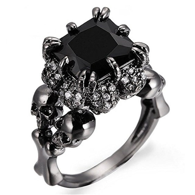 Punk Skull  Engagement Rings 925 Sterling Silver With Austrian Crystal Black