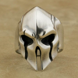 Handmade 925 Sterling Silver Helmet Guard Ring Mens Biker Rock Punk - Smelloncollie