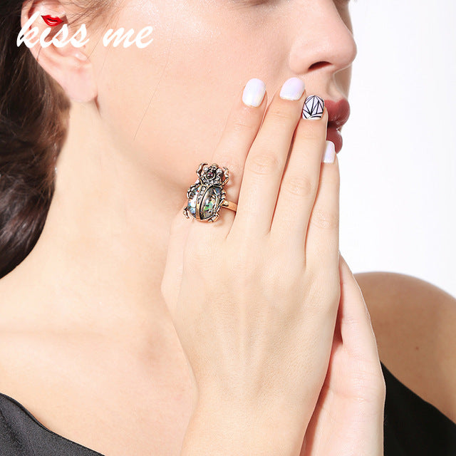 Cute Gemstone Insect  Skull Ring for Women
