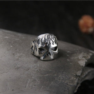 Handmade 925 Sterling Silver Skull for men - High Qulity Handcraft - Vintage Biker Rock Punk Style SH738 - Smelloncollie