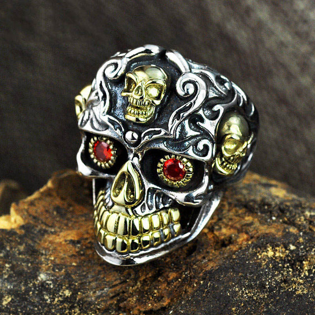 Handmade 925 Sterling Silver Skull ring for men - High Qulity Handcraft - Vintage Biker Rock Punk Style SH753 - Smelloncollie