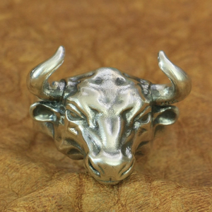 Bull Ring 925 Sterling Silver Mens Biker Rock Punk Ring TA198 US Size 7~15