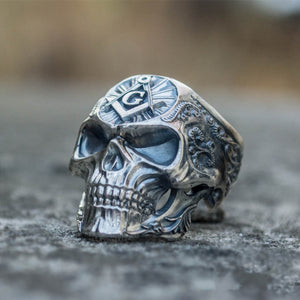 Knights Templar Freemason Stainless Steel Skull Ring Mens Masonic Freemasonry Biker Jewelry Gift for Man