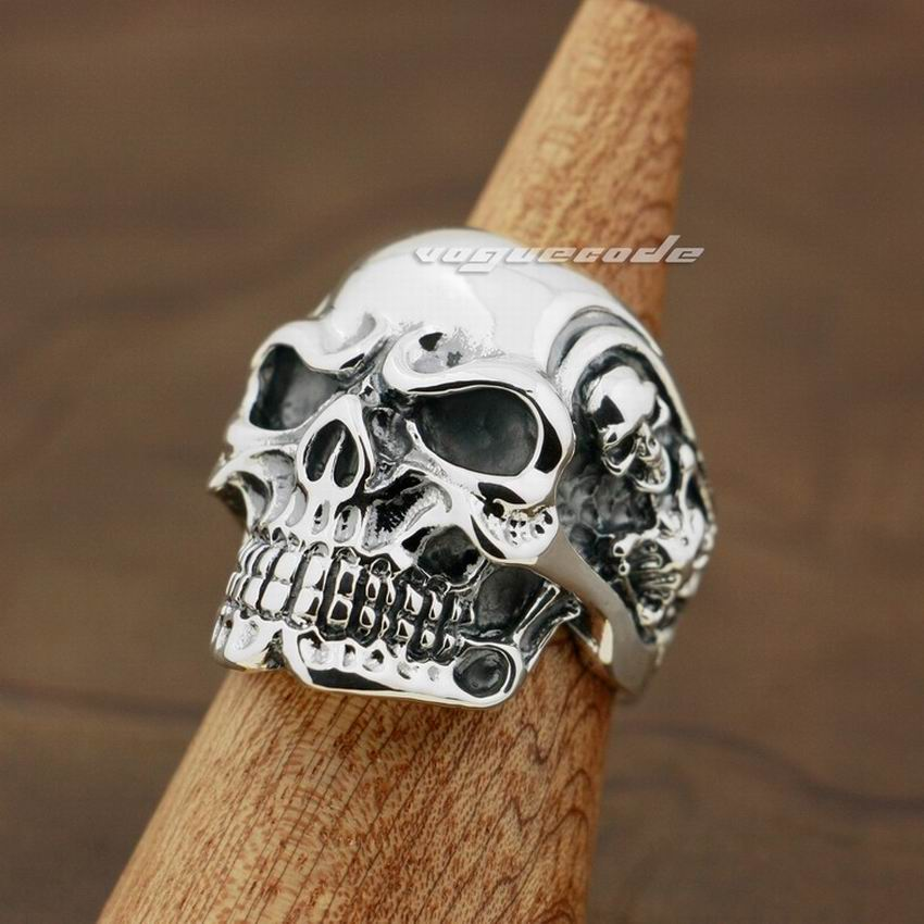 Handmade 925 Sterling Silver Skull ring for men - High Qulity Handcraft - Vintage Biker Rock Punk Style SH755 - Smelloncollie