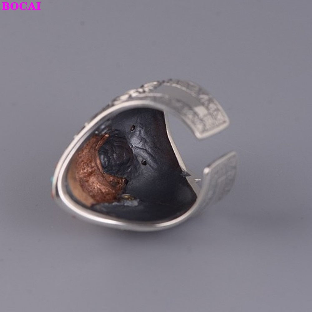 S925 Silver Retro Fashion Wolf Head Satan Open Ring Thai Silver Southern Red Stone Ring