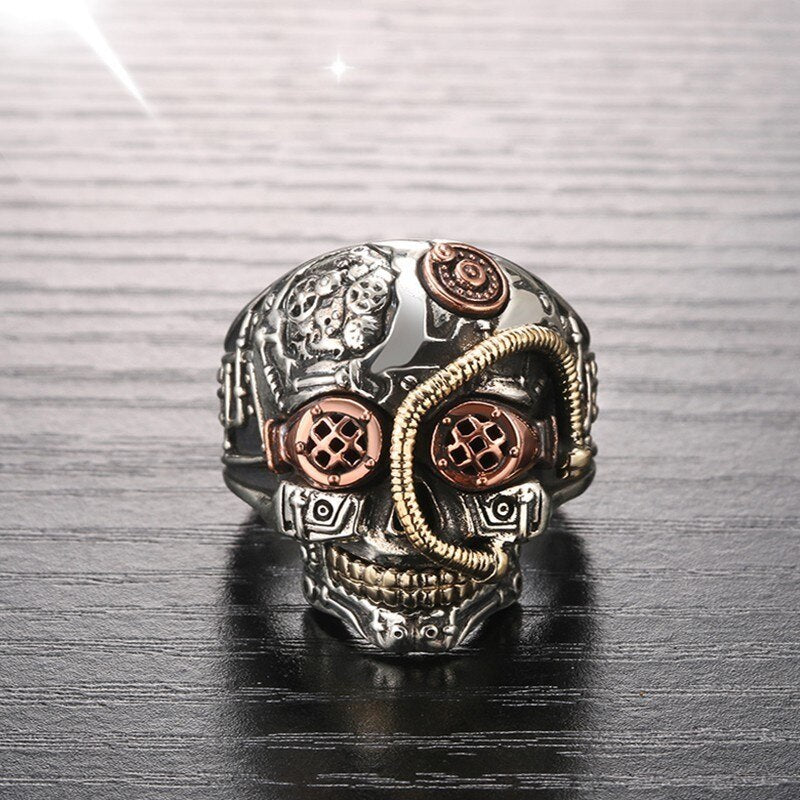 Handmade 925 Sterling Silver Skull ring for men - High Qulity Handcraft - Vintage Biker Rock Punk Style SH750 - Smelloncollie