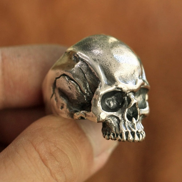 Handmade 925 Sterling Silver Skull for men - High Qulity Handcraft - Vintage Biker Rock Punk Style SH778 - Smelloncollie