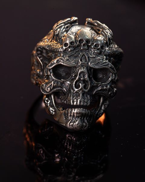 Silver Skull Ring  - High Qulity Handcraft -SH745