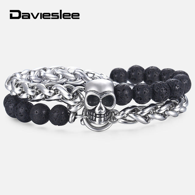 Best Seller Skull Charm Bracelets for Men Stainless Steel Double Layered Wheat Link Black Lava Beaded Halloween Male Jewelry 8/10mm DDB183 - Smelloncollie