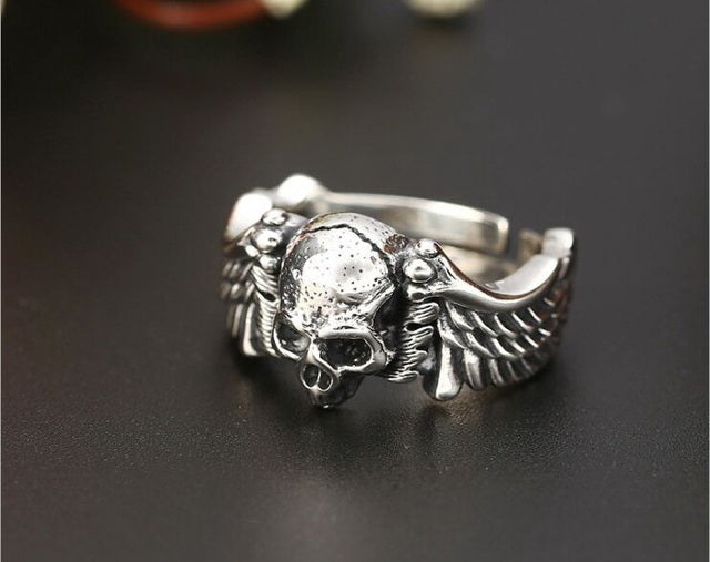 Handmade 925 Sterling Silver Skull for men - High Qulity Handcraft - Vintage Biker Rock Punk Style SH736 - Smelloncollie