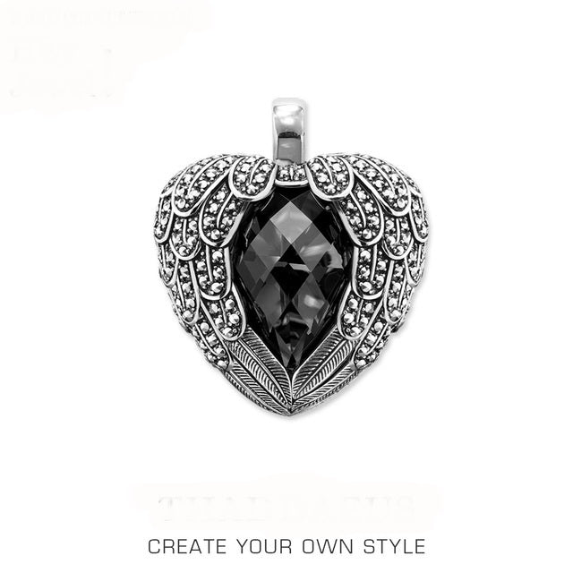 Black Winged Heart,2020 Romantic Pendant Fashion  925 Sterling Silver