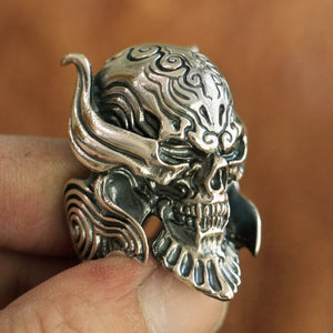 NEW ARRIVAL ! Handmade 925 Sterling Silver Skull for men - High Qulity Handcraft - Vintage Biker Rock Punk Style H902 - Smelloncollie