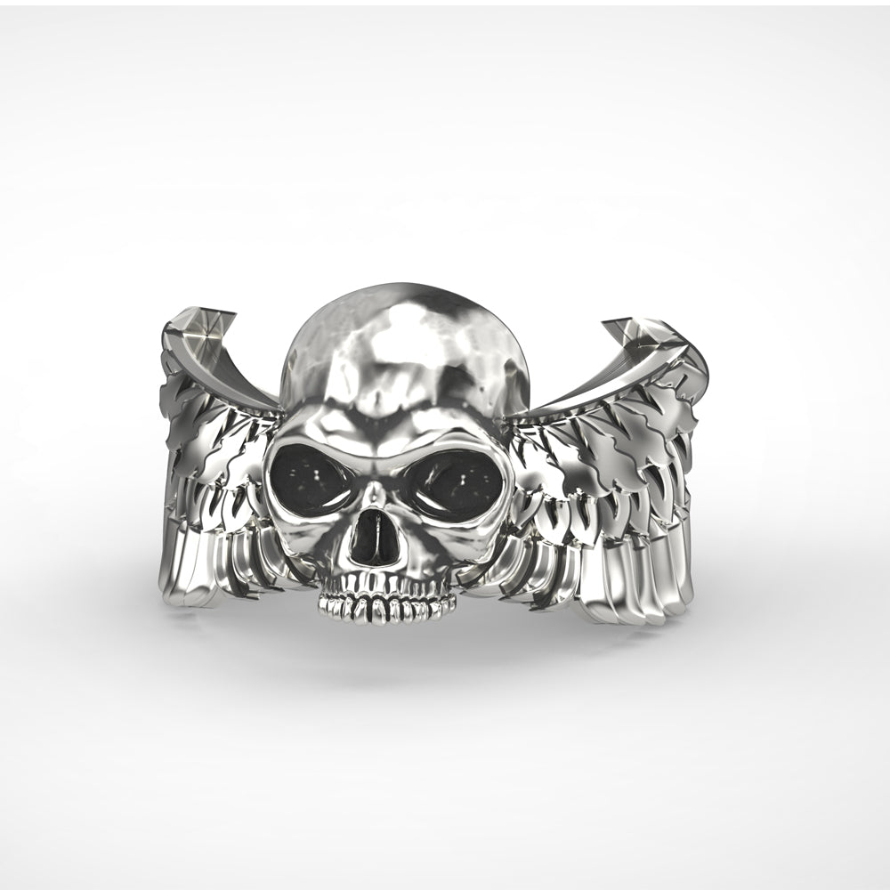 925 silver wings skull adjustable ring - Smelloncollie