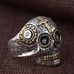 Handmade 925 Sterling Silver Skull Ring for men - High Qulity Handcraft - Vintage Biker Rock Punk Style SH744 - Smelloncollie