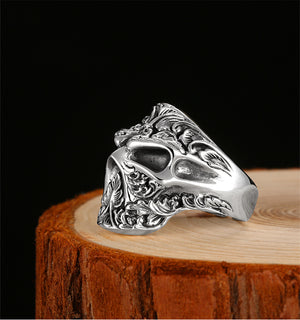 Handmade 925 Sterling Silver Skull Ring for men - High Qulity Handcraft - Vintage Biker Rock Punk Style SH748 - Smelloncollie