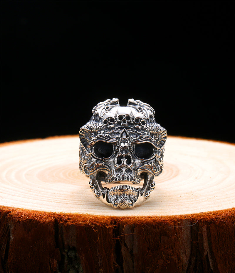Handmade 925 Sterling Silver Skull Ring for men - High Qulity Handcraft - Vintage Biker Rock Punk Style SH745 / Adjustable ring - Smelloncollie