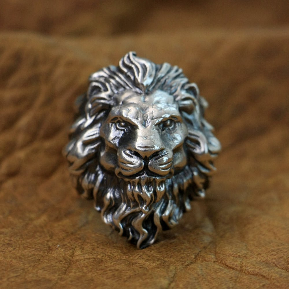 Handmade 925 Sterling Silver Lion Skull Ring for men - Vintage Biker Rock Punk Style H799 - Smelloncollie