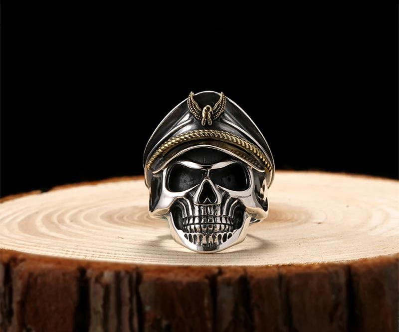 Handmade 925 Sterling Silver Skull Ring for men - High Qulity Handcraft - Vintage Biker Rock Punk Style SH742 - Smelloncollie