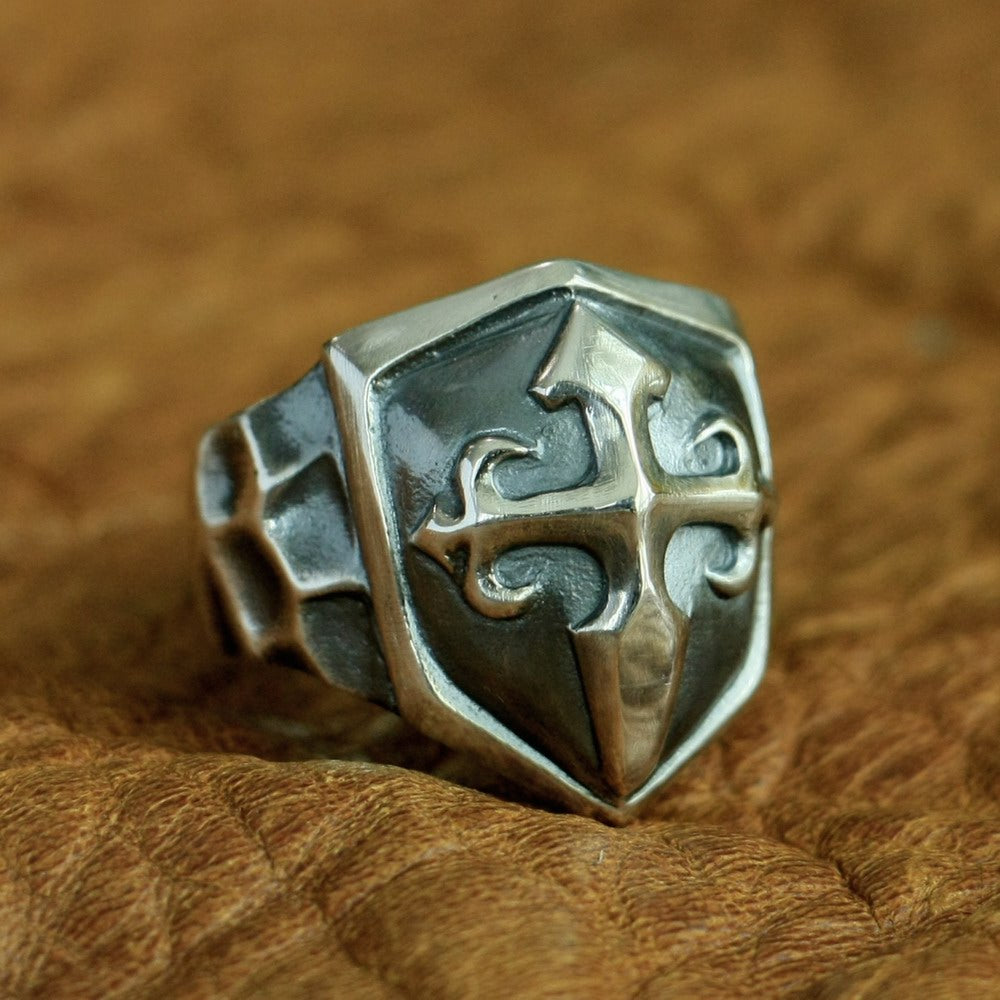925 Sterling Silver Handmade Cross Shield Ring Mens - Smelloncollie
