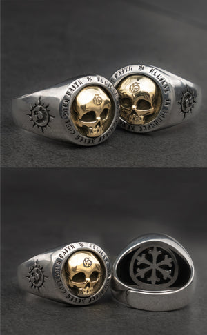 Handmade 925 Sterling Silver Skull for men - High Qulity Handcraft - Vintage Biker Rock Punk Style SH735 - Smelloncollie