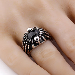 Real 925 Sterling Silver Men Ring with Black Stone Skull & Spider Picture Punk Style Finger Ring for Men Fashion Jewelry