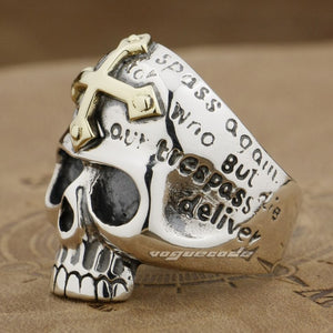 Handmade 925 Sterling Silver Skull ring for men - High Qulity Handcraft - Vintage Biker Rock Punk Style SH754 - Smelloncollie