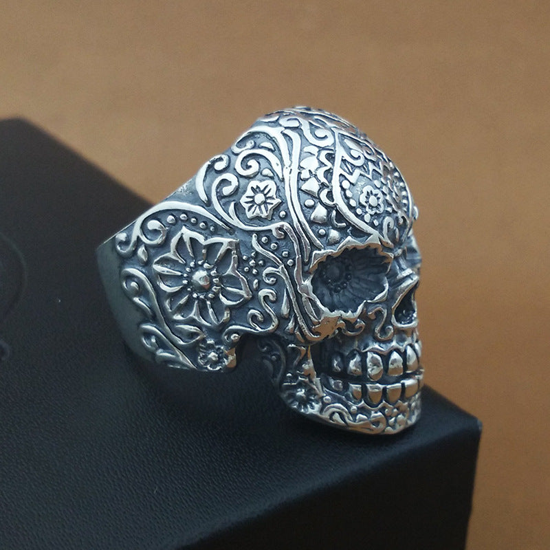 Handmade 925 Sterling Silver Skull Ring for men - High Qulity Handcraft - Vintage Biker Rock Punk Style SH740 - Smelloncollie