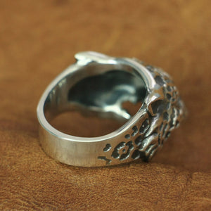 Leopard Mens Ring 925 Sterling Silver - Smelloncollie
