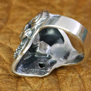 New Arrival 925 Sterling Silver DJ Skull Ring Mens Limited Edition Only 195rings at Smelloncollie.com Biker Rock Punk Ring TA178 US Size 7~15
