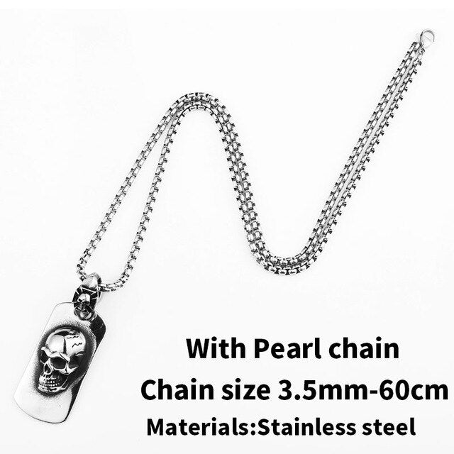 steel soldier punk rock skull pendant necklace fashion jewelry 2019 devill skeleton amulet heavy chain jewelry