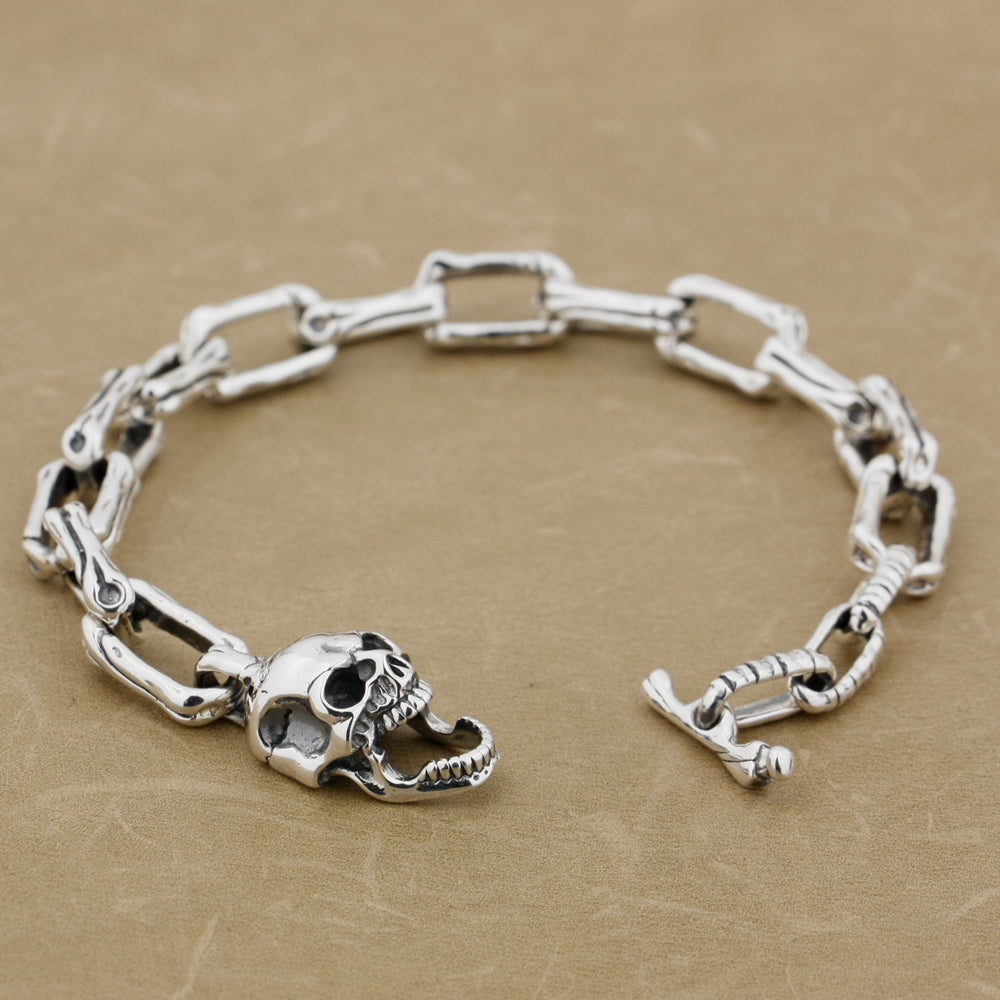 925 Sterling Silver Skull Bone ChainBracelet Smelloncollie - Smelloncollie