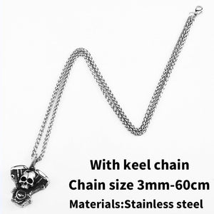 steel soldier punk Skull Motorcycles Engine Pendant Stainless Steel Rock  Biker gothic Cross Men Pendant