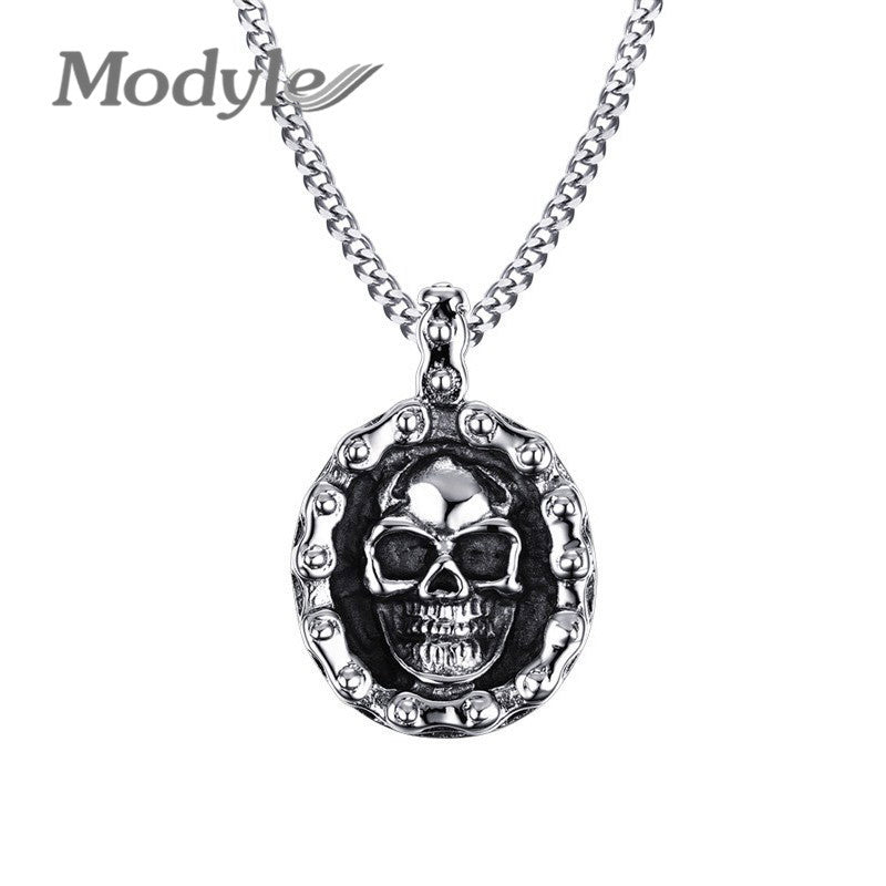 Modyle 2019 New Rock Punk Stainless Steel Male Skull Necklace Men Jewelry Necklaces & Pendants