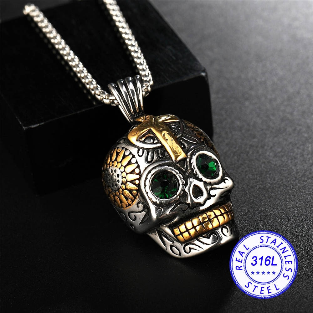 Stainless steel Punk Rock And Roll Wind Personalized Skull Pendant Necklaces Wholesale Make Man Suffocating Big Skull Jewelry