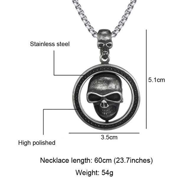 US7 Punk Motorcycle Double Skull Pendants Necklaces Men Stainless Steel Gothic Necklace for Male Hallowma Party Jewelry Gift
