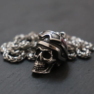 Punk Pilot Helmet Skull Stainless Steel Pendant Necklace Men Fashion Jewelry