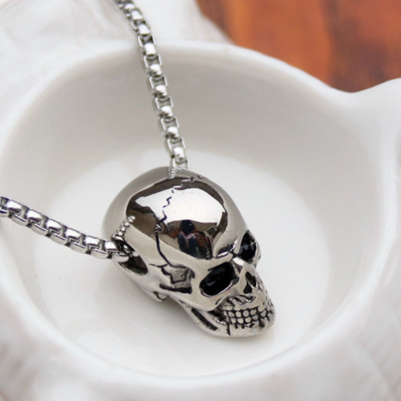 Punk Trendy Skull Men Necklace Stainless Steel Long Chain Necklaces for Men Boys Hip Hop Halloween Jewelry Boyfriend Gifts Hot