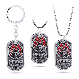 Vintage Metro Exodus 2033 Necklace Metal Pendant Skull Dog Tag Men Necklaces Leather Chains Charm Choker Necklaces Game Jewelry