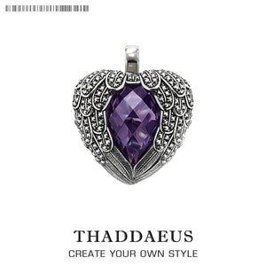 Pendant Purple Winged Heart,2019 Brand 925 Sterling Silver Glam Jewelry Thomas Bijoux Necklace Accessorie Gift For Ts Soul Woman