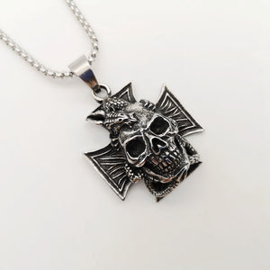 New Gothetic Cross Dragon skull pendant necklace mens vintage silver Stainless steel Cross Dragon necklace jewelry punk